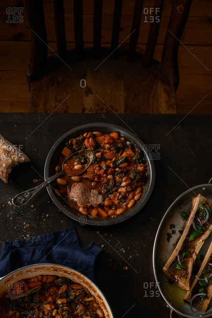 Tuscan Ribollita soup and roasted marrow bone