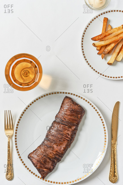 Top view of steak with french fries