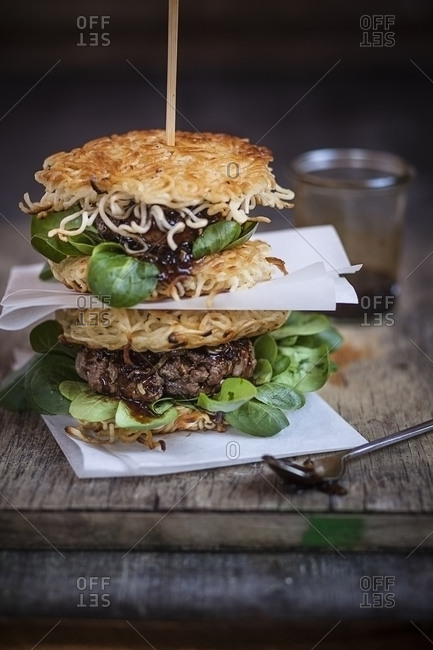 Two stacked ramen burgers