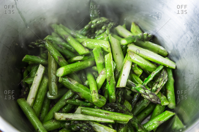 Cooking asparagus, overhead view