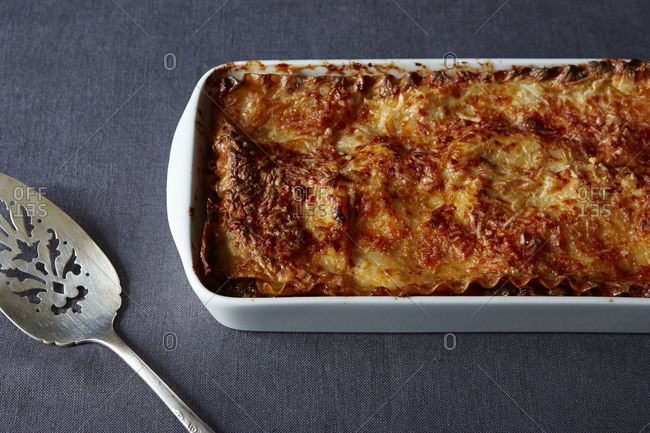 Freshly baked lasagna in lasagna pan