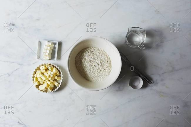 Ingredients of a cream cheese pie crust