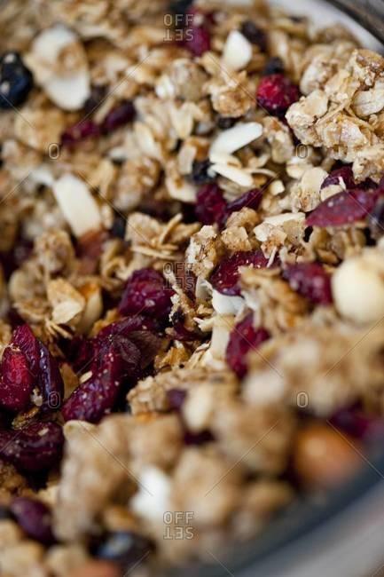 Close up of a bowl of granola
