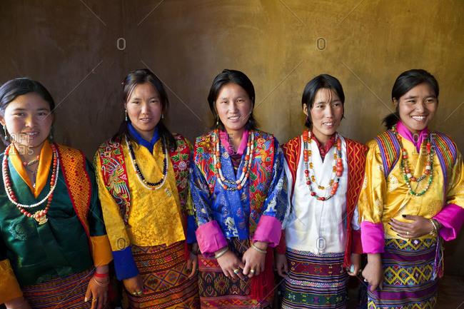 Gangtey Dzong Monastery, Phobjikha Valley, Bhutan - October 10,2011: Group of young Bhutanese women in traditional dress