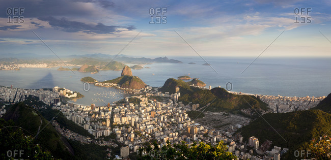 View over Sugarloaf mountain in Guanabara Bay