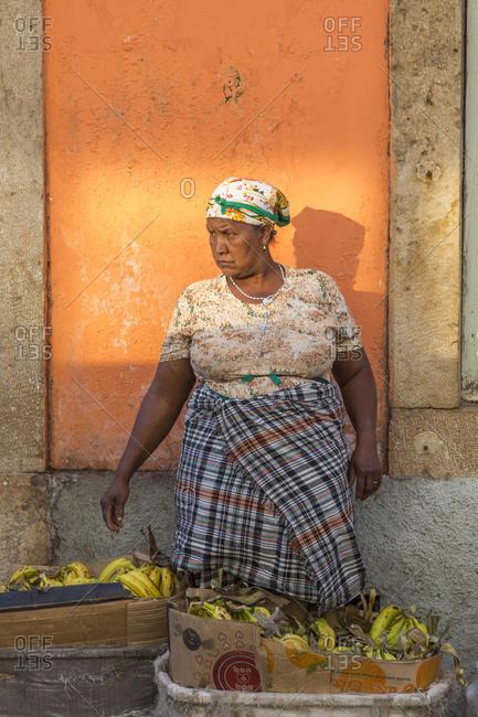 Praia, Santiago Island, Cape Verde - March 10,2013: Woman at vegetable market