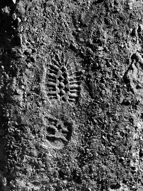 Boot print on gray
