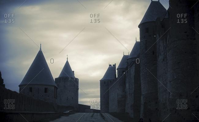 Medieval castle under an overcast sky