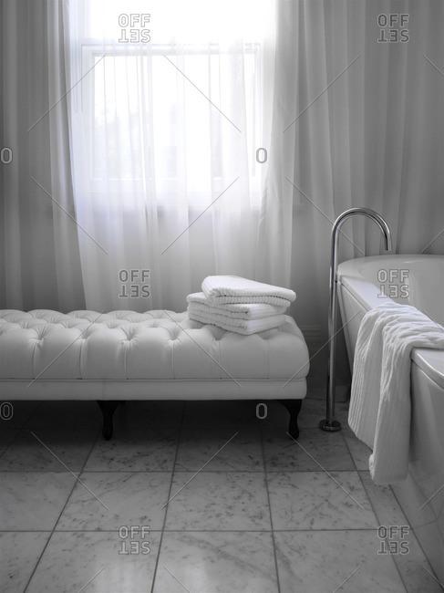 Interior of a white bathroom