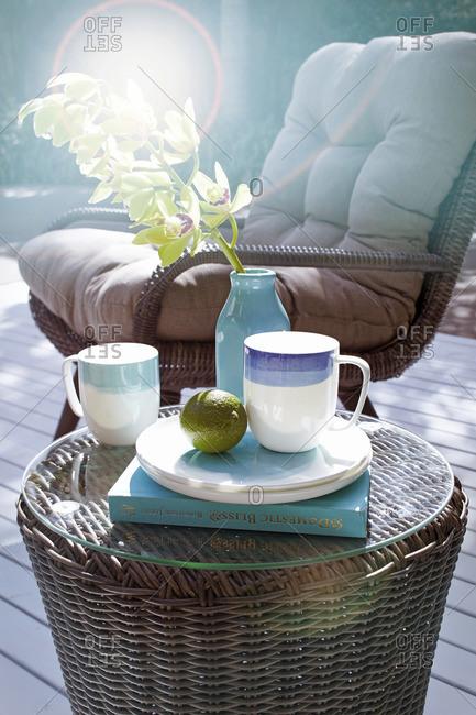 Rattan furniture on a terrace