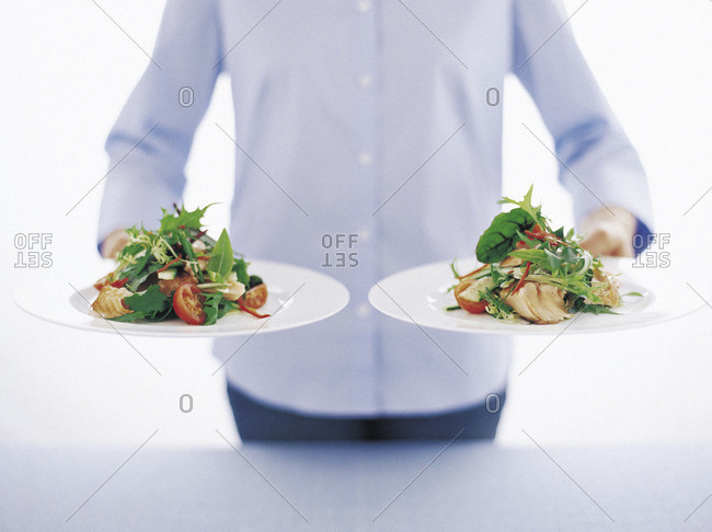 Person holding plates of food
