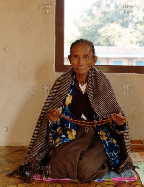 Inle Lake, Burma, Myanmar, Southeast Asia - December 18, 2013: Portrait of Burmese elderly woman