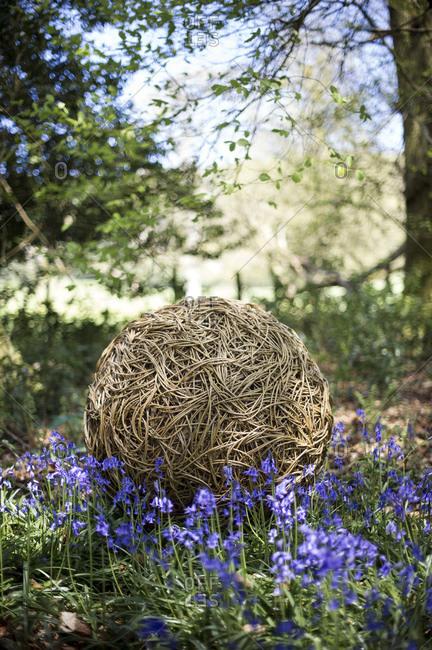 Decorative ball in backyard