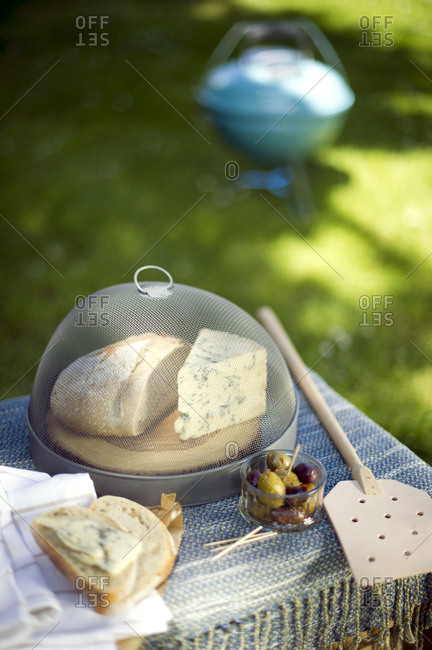 Appetizers served on table in the garden