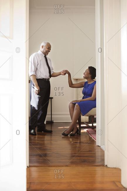 Man asks a woman to dance