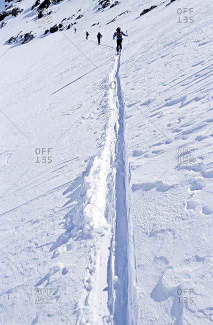 Skier sliding down the mountain