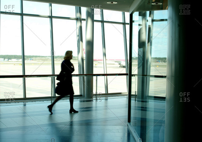 Stressed businesswoman at airport