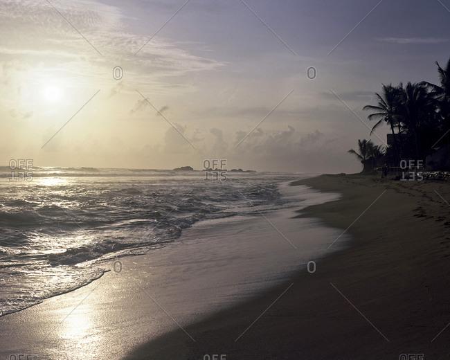 Sundown viewed from a beach