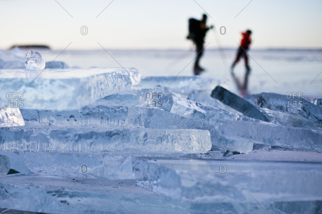 Close up view of ice mass