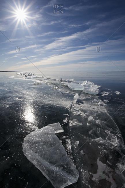 Sun beaming on ice sheet