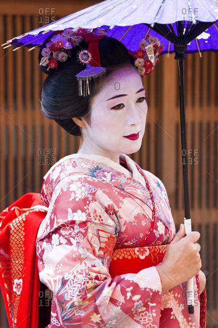Kyoto, Japan - January 29, 2011: Portrait of a Geisha in Kyoto, Japan