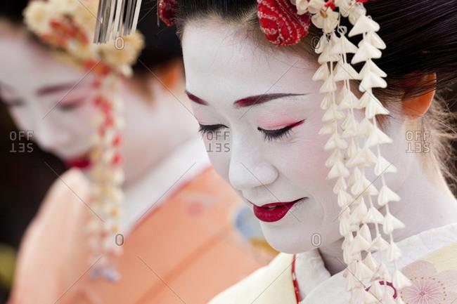 Kyoto, Japan - January 30, 2011: Portrait of a Geisha in Kyoto, Japan