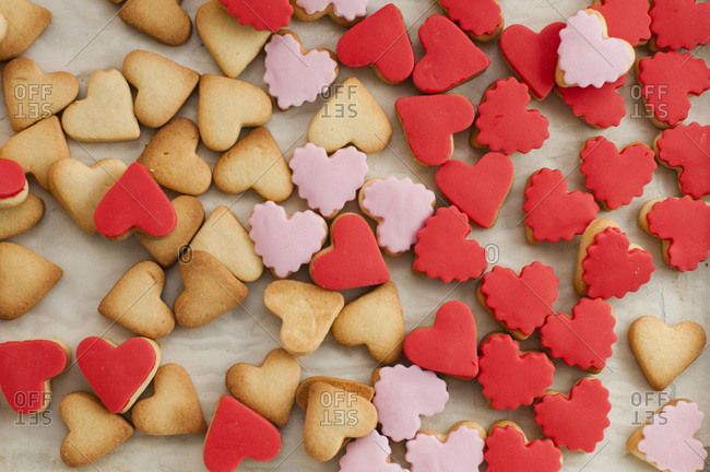 Assortment of heart-shaped cookie