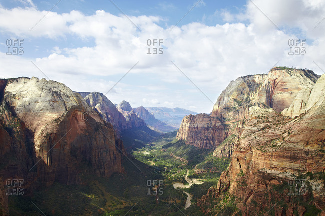Zion National Park in southern Utah as seen from the top of Angels Landing