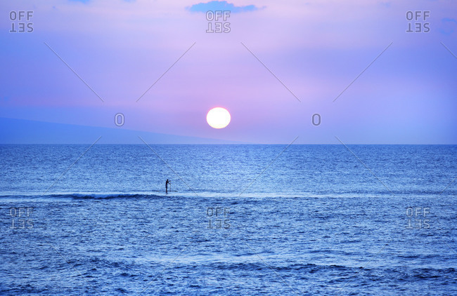 Stand up paddler rows to shore