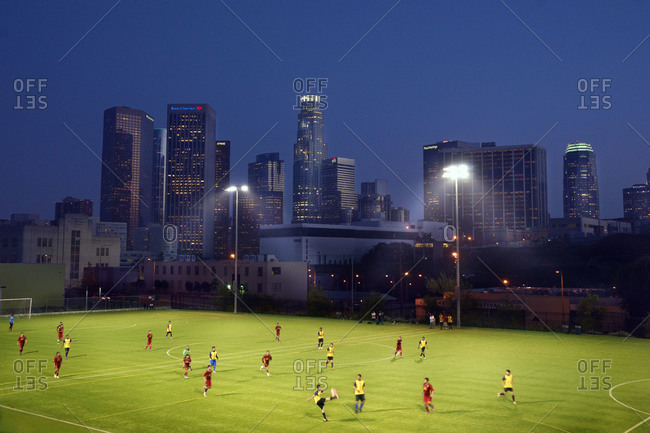 Los Angeles, California - April 12, 2013: Youth soccer match in downtown LA