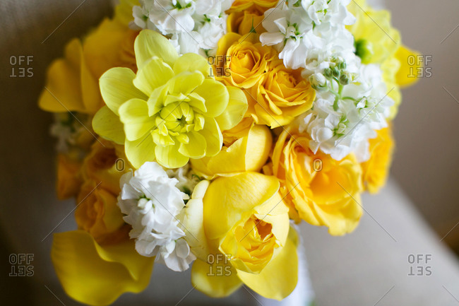 Bridal bouquet prepared for wedding ceremony