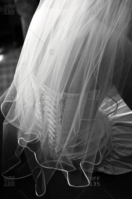Rear view of bride in wedding dress