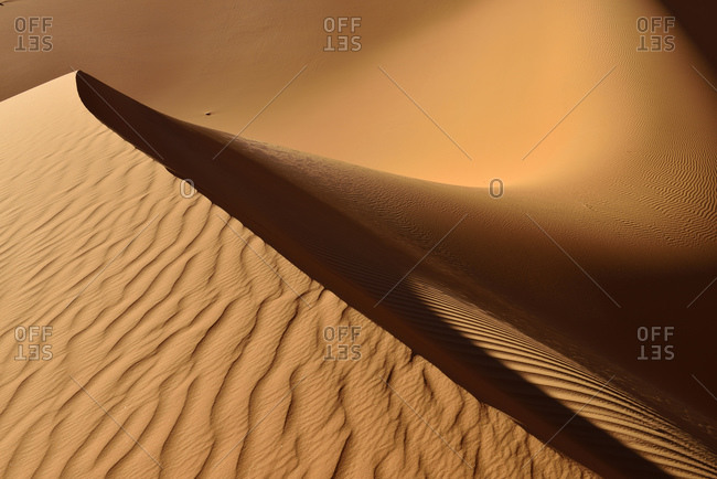 Sand ripples on a desert dune
