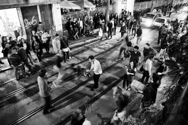 Santa Teresa, Rio de Janeiro, Brazil - August 18, 2013: Street musicians in Rio de Janeiro