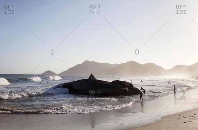 Rock on a beach in Rio de Janeiro