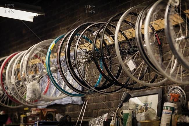 Wheels in bicycle store