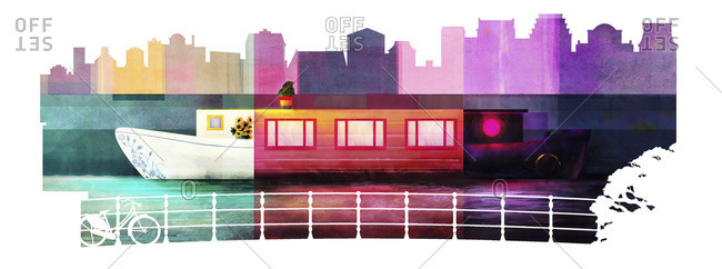 Landscape Illustration of houseboats in Amsterdam showing the different sides of the city