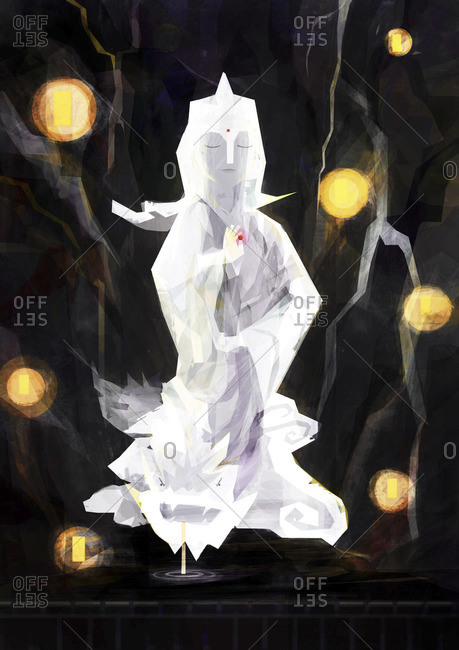 Illustration of a white Goddess of Mercy statue surrounded by a waterfall and lights