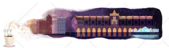 Landscape Illustration of Krakow city Square in the rain inside steam from coffee cup