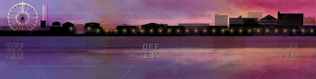 Landscape Illustration of Ocean City in Maryland at sunset