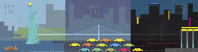 Landscape Illustration of New York skyline