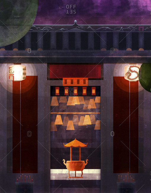 Illustration of a temple shrine in Hong Kong with glowing incense and paper lanterns