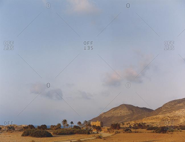Almerian desert landscape in Spain with an emblematic moorish architecture