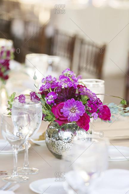 Close up of flower decoration at wedding reception