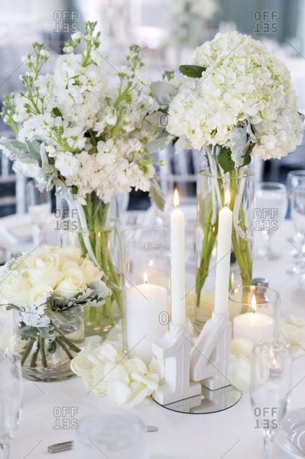 Close up of flower arrangment at wedding reception