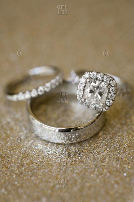 Wedding rings displayed on table