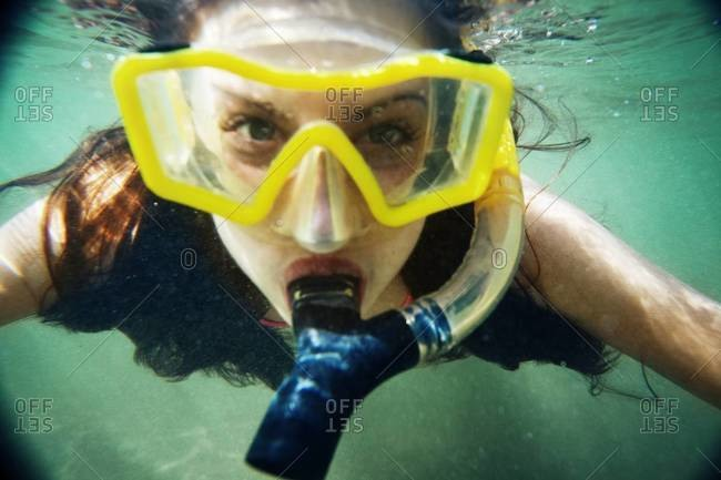 Close up of a woman snorkeling