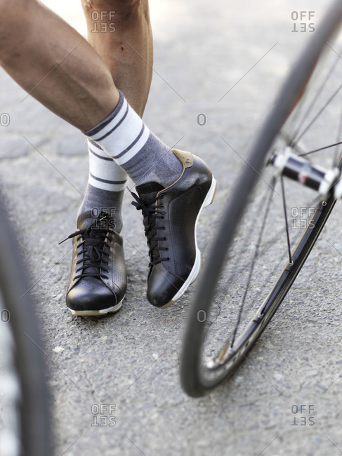 Close up of a cyclist's feet