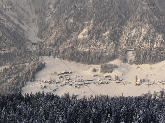 View over a snow-covered Tyrolian village, Austria