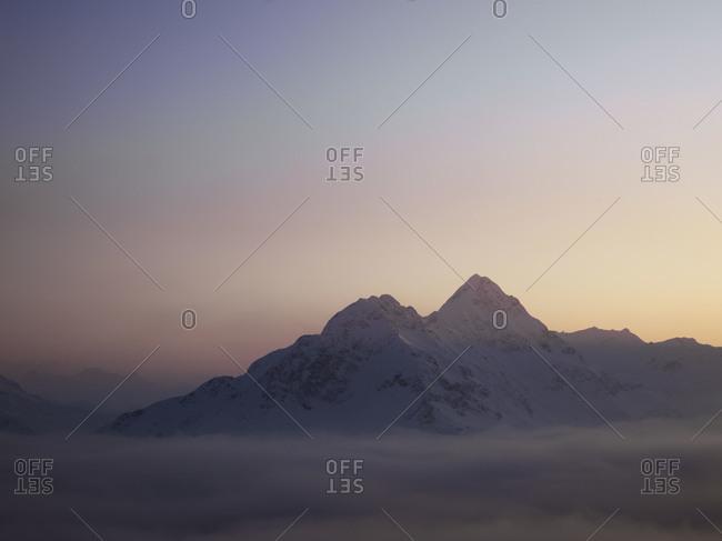 Sunset in mountain region